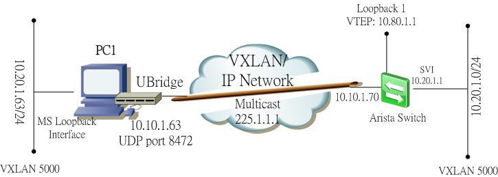 Bridge Windows PC using UBridge with the VXLAN on Arista